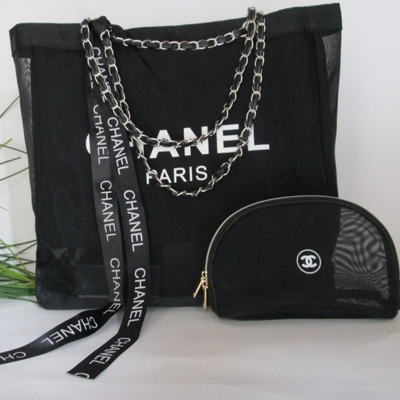 f6f9aa62e4d9 Bags | Chanel Vip Mesh Tote And Makeup Bag Gift Silver | Poshmark